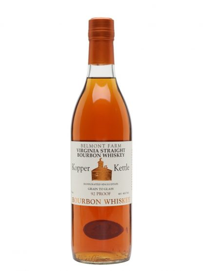 A bottle of Belmont Farm Kopper Kettle Straight Bourbon Whiskey