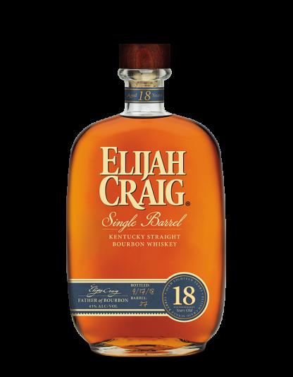 A bottle of Elijah Craig Single Barrel 18 year old Bourbon