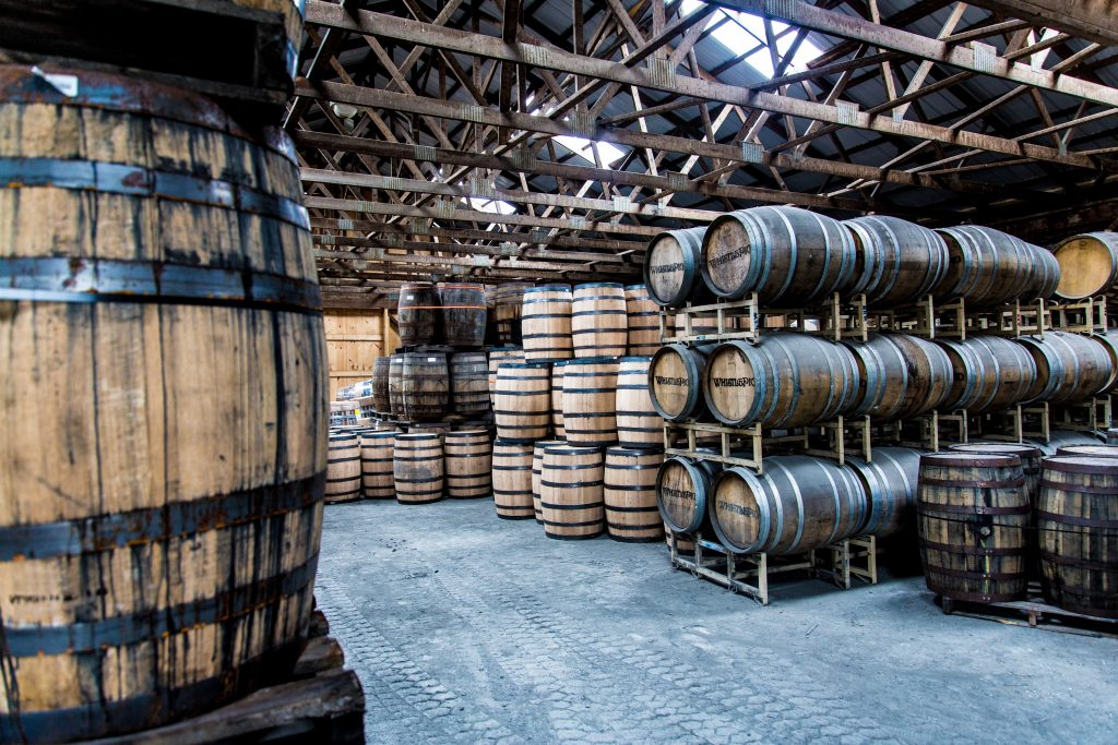 Whiskey Barrels at Whistlepig