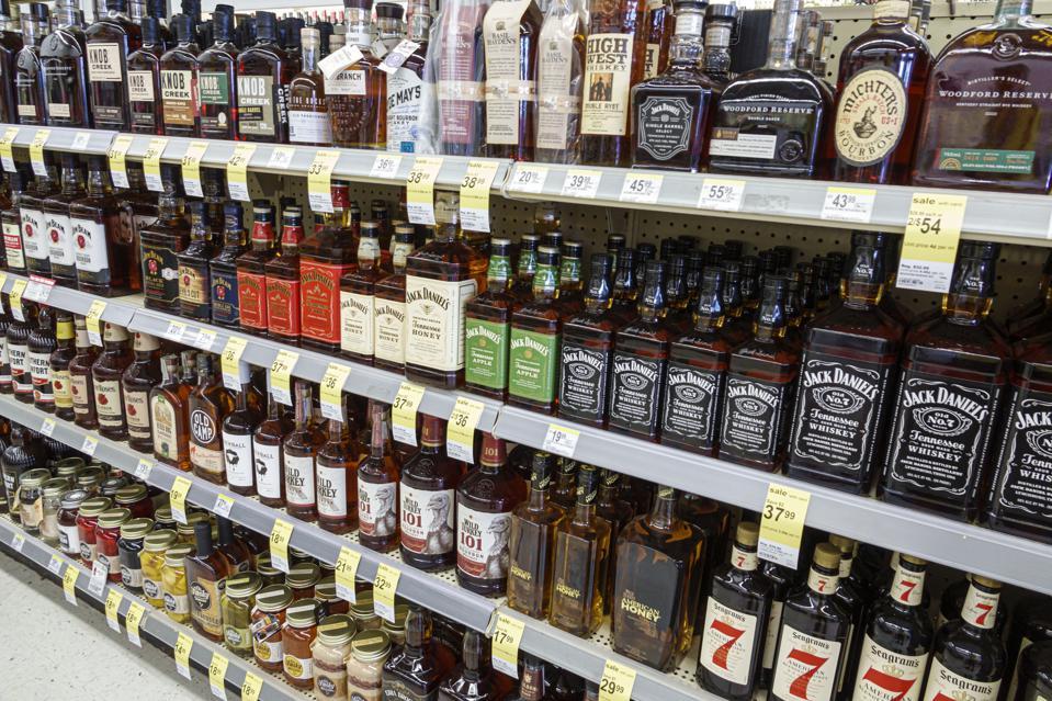 Store shelves full of Bourbon