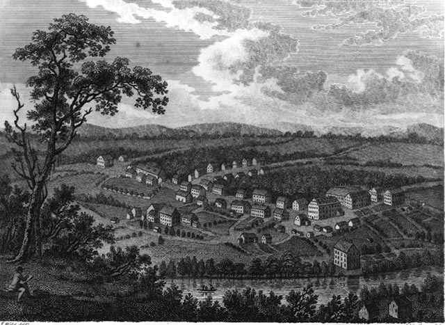 An early drawing of an immigrant settlement in 1700's Pennsylvania