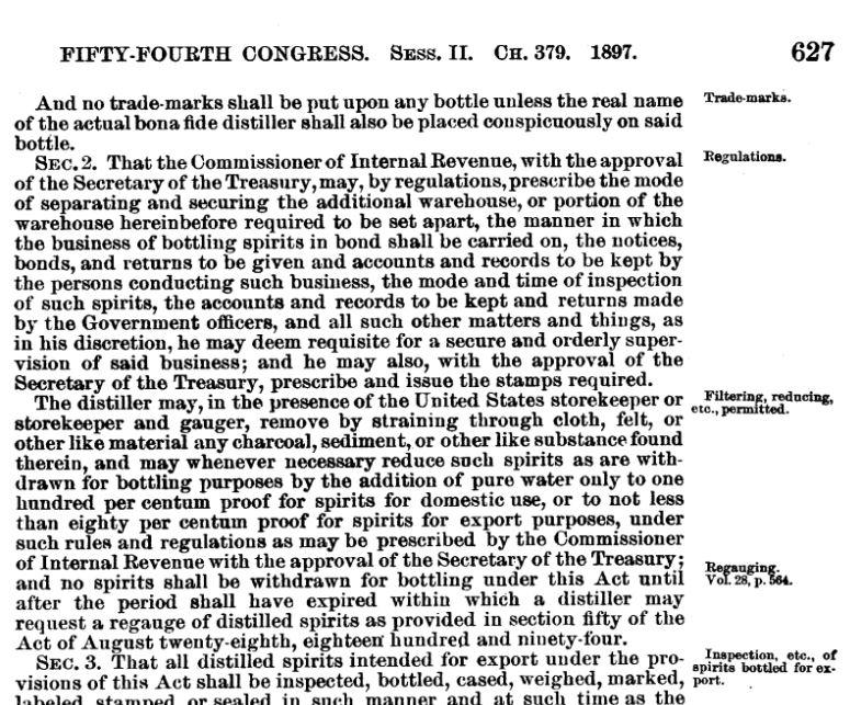 Bottled in Bond act 1897