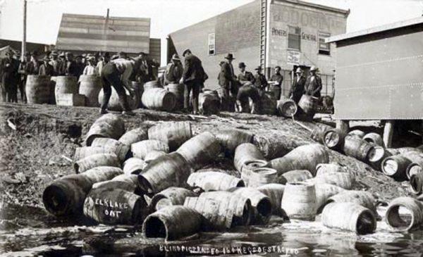 Barrels being smashed during Prohibition