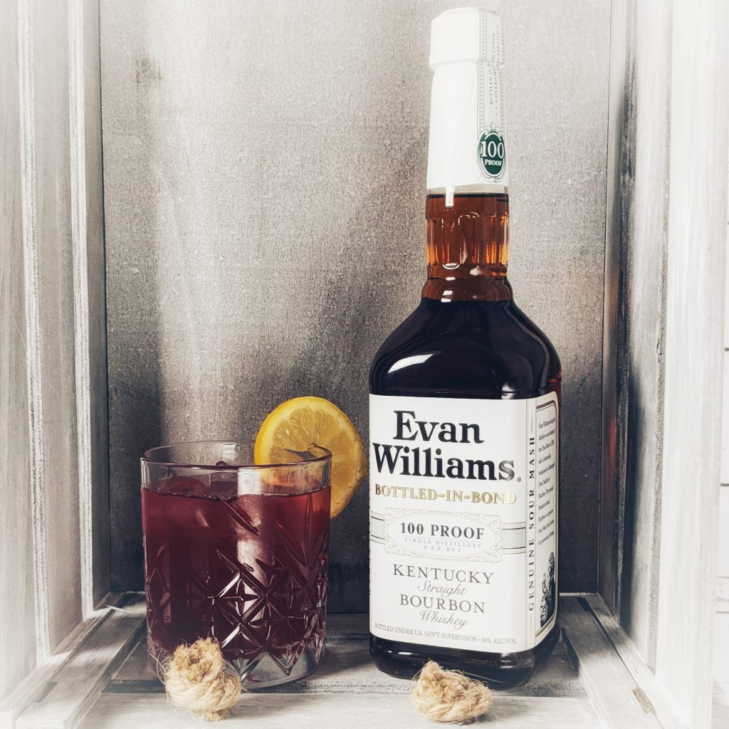 A Belmont Jewel Cocktail made with Evan Williams Bottled in Bond Bourbon Whiskey