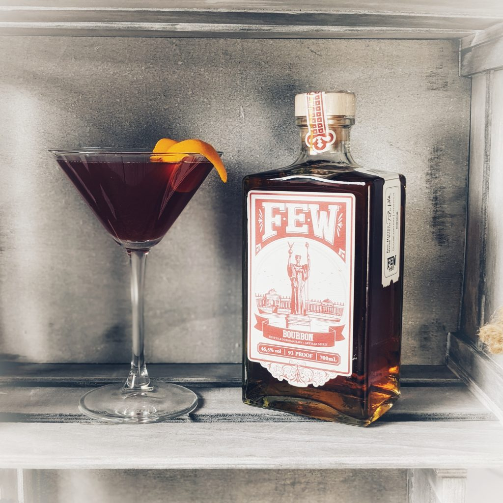 A Blind Pilot Cocktail made with FEW Straight Bourbon Whiskey