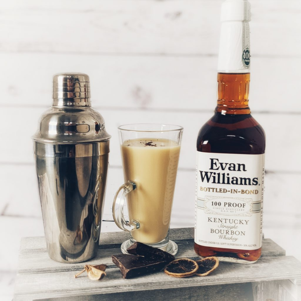 A Bourbon Eggnogg Cocktail made with Evan Williams Bottled in Bond Bourbon Whiskey