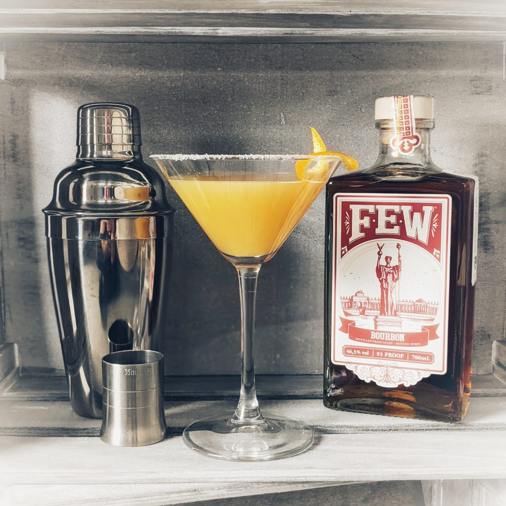 A Bourbon Sidecar Cocktail and its components, made with FEW Bourbon Whiskey