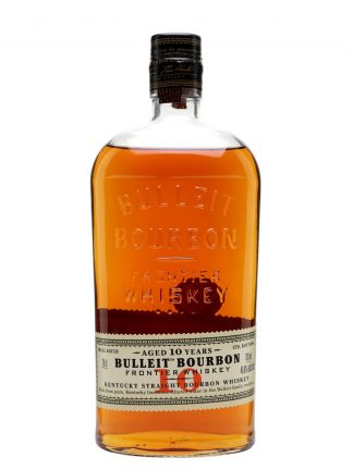 A bottle of Bulleit Bourbon 10 year old Frontier Whiskey