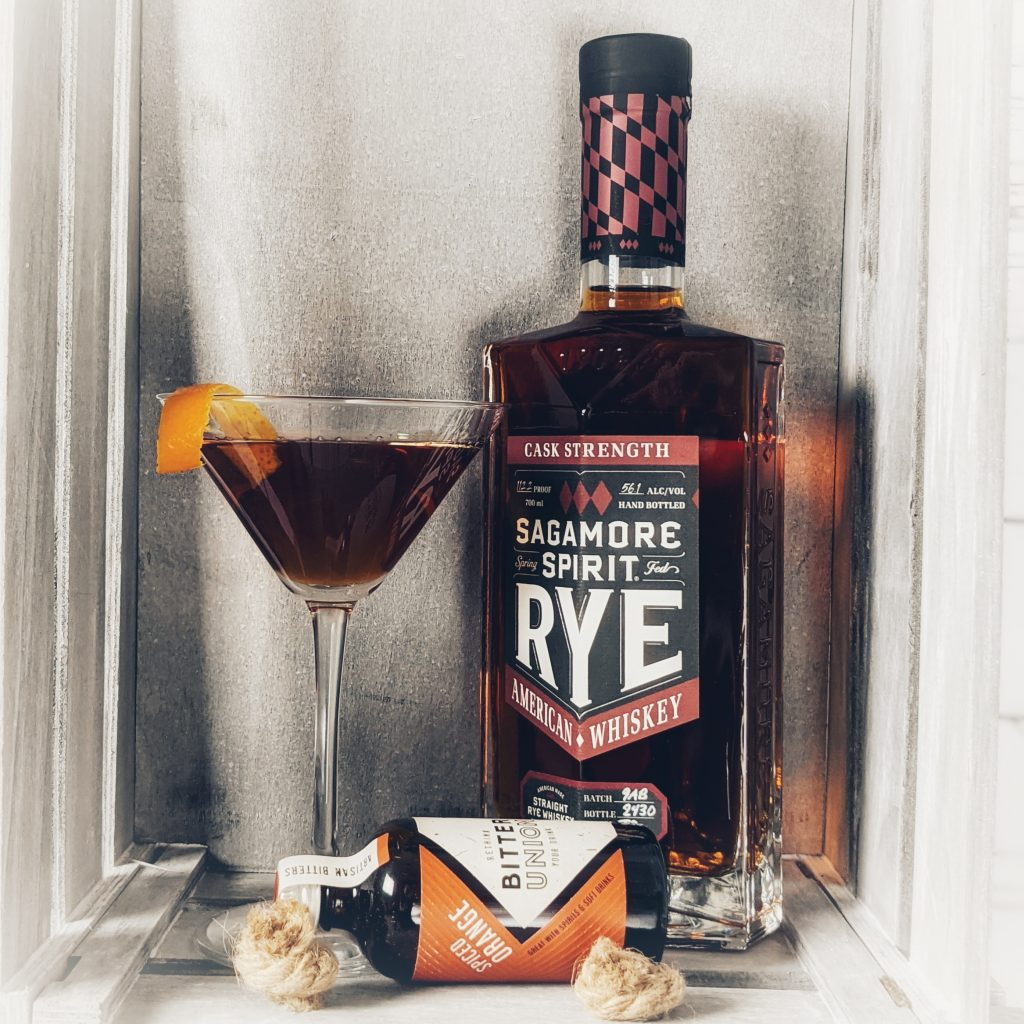 A Chauncey Cocktail made with Sagamore Spirit Cask Strength Rye Whiskey