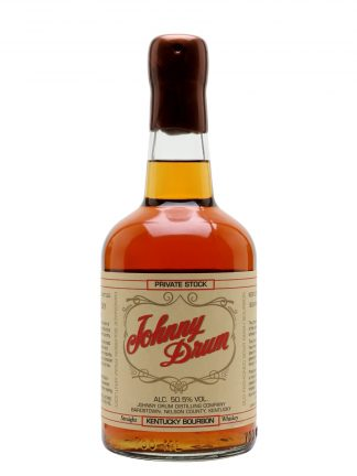 A bottle of Johnny Drum Private Stock Whiskey