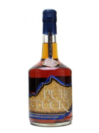 A bottle of Pure Kentucky Small Batch Straight Bourbon Whiskey