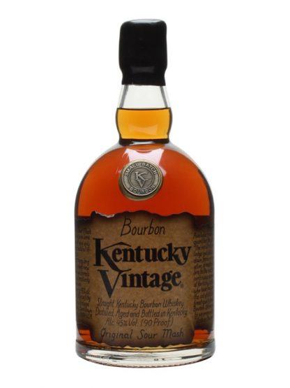 A bottle of Kentucky Vintage Straight Bourbon Whiskey
