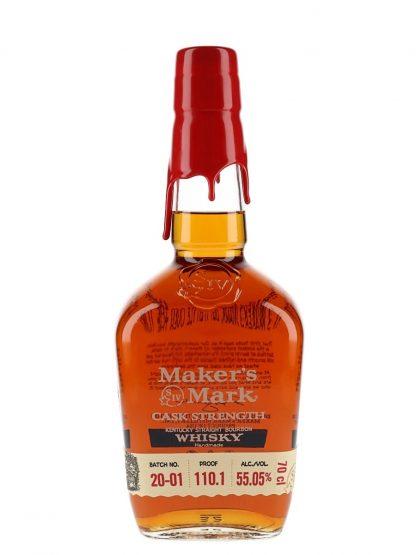A bottle of Makers Mark Cask Strength Bourbon Whiskey