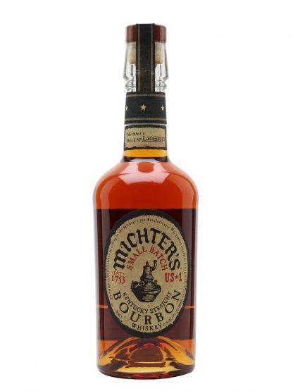 A bottle of Michters Small Batch Kentucky Sraight Bourbon Whiskey