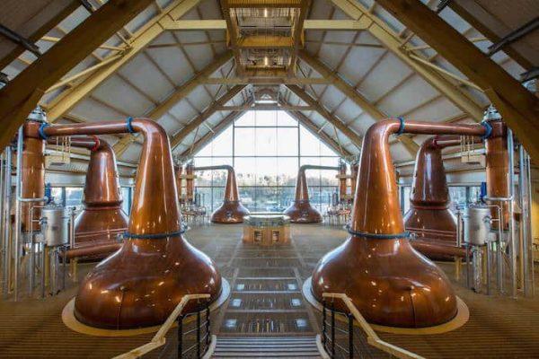 Copper Pot stills in a craft distillery