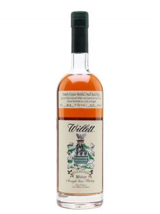 A bottle of Willett Family Estate 4yr old Rye Whiskey