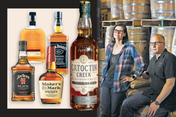 An image of whiskey bottles and the owners of Catoctin Creek Distillery