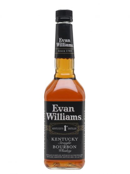 A bottle of Evan Williams Black Label Extra Aged Kentucky Straight Bourbon Whiskey